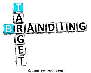 3D Target Branding Crossword on white background