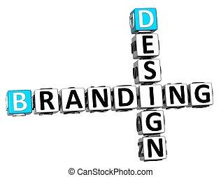 3D Design Branding Crossword on white background
