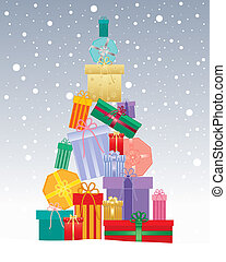 christmas gift tree - an illustration of a christmas tree...