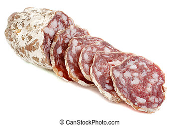 french saucisson - Sliced French saucisson in front of white...