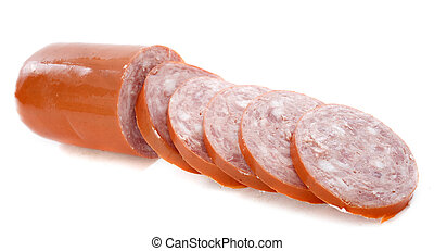 garlic sausage in front of white background
