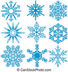 Snowflake Set - Winter Design Elements, Vector Illustration