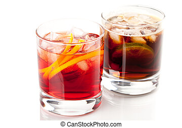 Alcohol cocktail collection - Negroni and Cuba Libre....