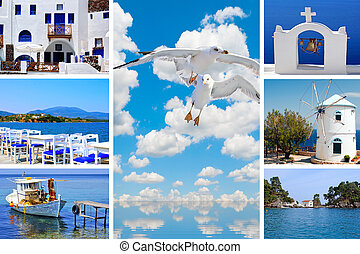 Collage of summer photos in Santorini island, Greece