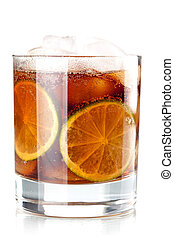 Alcohol cocktail collection - Cuba Libre. Isolated on white...