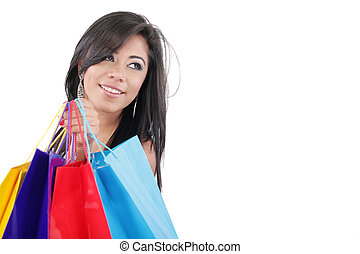 Portrait of a beautiful woman with colored shopping bags isolated on white
