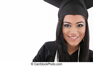 Educational theme: graduating student girl in an academic...