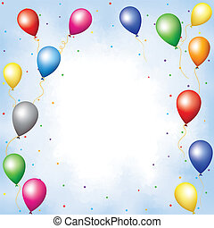 Colourful balloons and confett