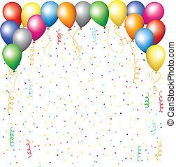 balloons, confetti and serpantine - happy birthday...