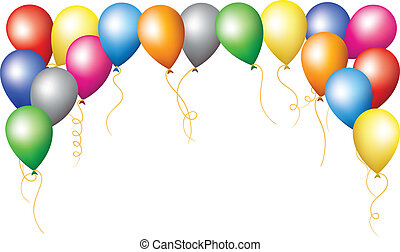 holiday border of colourfull balloons - Happy birthday...