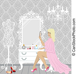 beautiful fashion woman in her boud - vector illustration of...