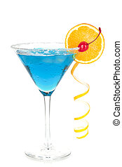 Cocktail collection - Blue martini with orange and...