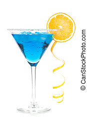 Cocktail collection - Blue martini with lemon spiral....