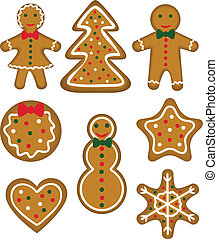 Christmas cookies set. Paistry shaped man, woman, tree,...