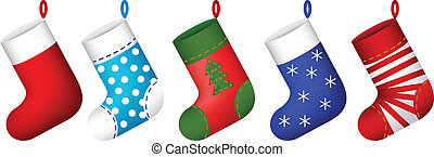 christmas socks set vector illustration