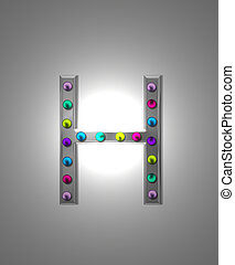 Alphabet Metal Marquee HH - The letter H, in the alphabet...