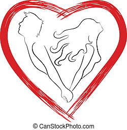 Silhouette of couple shaped heart. Symbol of relationship...