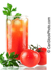Blood mary alcohol cocktail with tomatos and celery