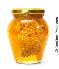 miel, tarro, aislado, blanco