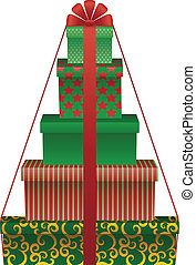 gift tree - vector illustration of gift boxes shaped...