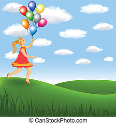 girl with balloon on the meadow