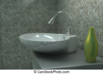 Sink - Close up of bathroom sink in a new house made in 3d