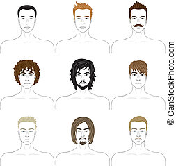 men faces set with different hairstyles, beards and...