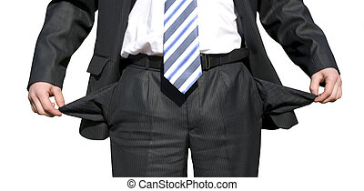 bankrupt - Businessman with empty pockets on white