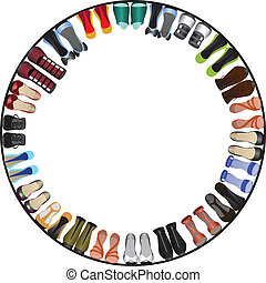 shoes circle frame - vector illustranion of shoes circle...