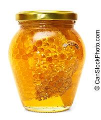 miel, blanco, tarro, aislado