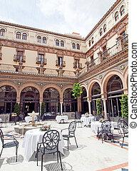 atrium in Seville, Andalusia, Spain
