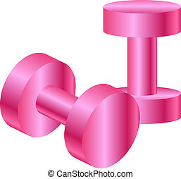 pink dumbbells - Vector illustration of pink dumbbells