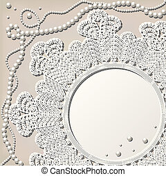 crochet doily with pearl necklace - vintage crochet doily...