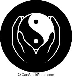 yin yang symbol - Vector illustration of hands holding yin...