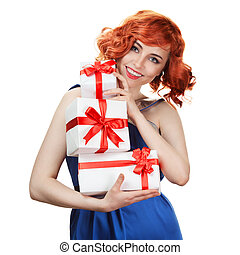 Young happy woman with a gift. Isolated over white