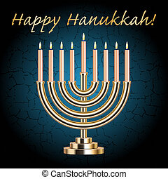Happy Hanukkah - Vector Happy Hanukkah turquoise wish card...