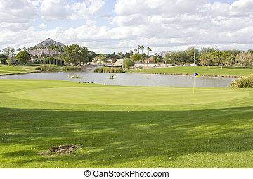 Golf Club field with pond - Continental Golf Club field with...