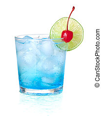 Blue alcohol cocktail with maraschino and lime. Isolated on...