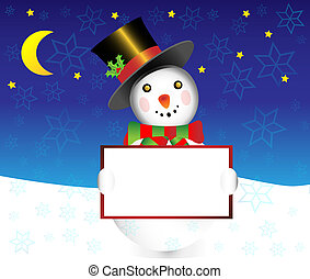 Snowman with banner christmas