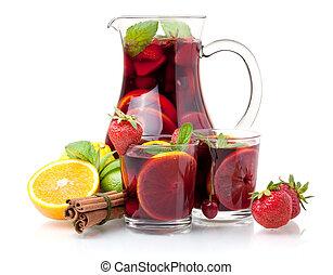 sangría, refrescante,  (punch), frutas