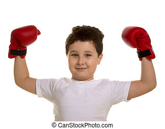 Portrait of the young boxer training isolated white...