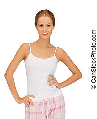 happy and smiling woman in cotton pajamas - bright picture...