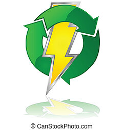 Reusable energy - Glossy illustration of a lightning bolt...
