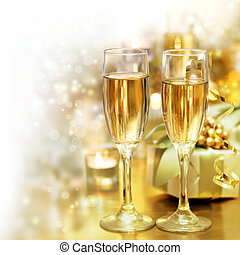 Shining Champagne Glasses (celebration) - shining champagne...