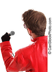 Rock Star Holding a microphone, wearing a red leather jacket...