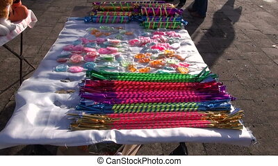 assorted and colorful sweets in street fair