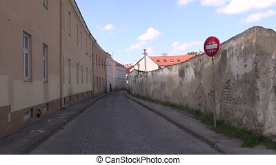 old town street in Vilnius - old town historical street in...