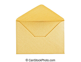 Open golden envelope on white background, close up, studio...
