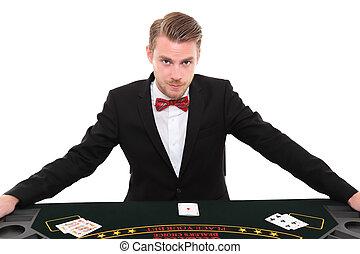 Black Jack dealer - Blackjackdealer in a suit and bowtie....