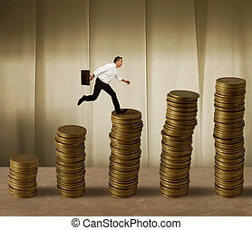 Jumping businessman on money - Jumping businessman in a...